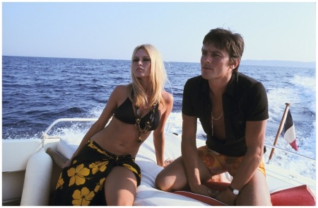 French actress Brigitte Bardot with French actor Alain Delon in Saint-Tropez, France, 1968