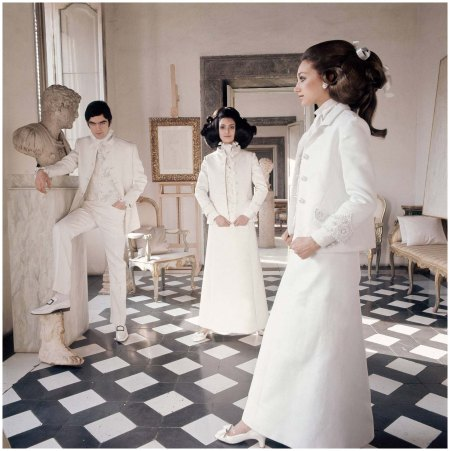Marisa Berenson Rome apartment of Cy Twombly circa 1968 wearing long white evening suits by Valentino-Photo Henry Clarke