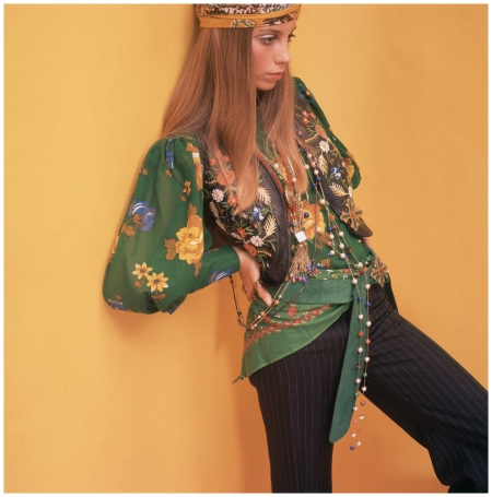 Photo David McCabe Model Wearing Floral Blouse and Vest 1968