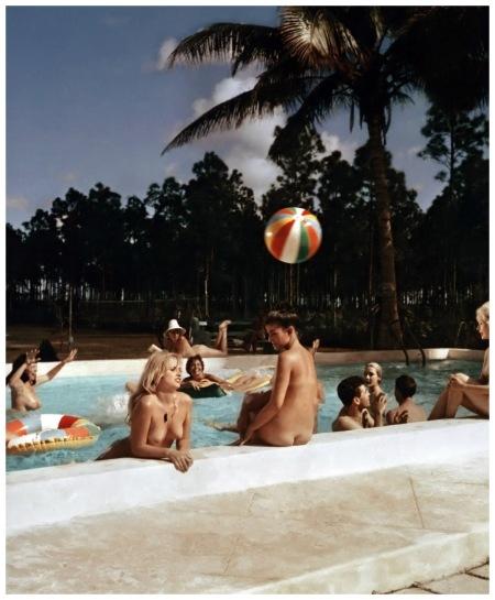 Pool Scene at Sunny Palms Nudist Resort, Homestead, Florida, 1962