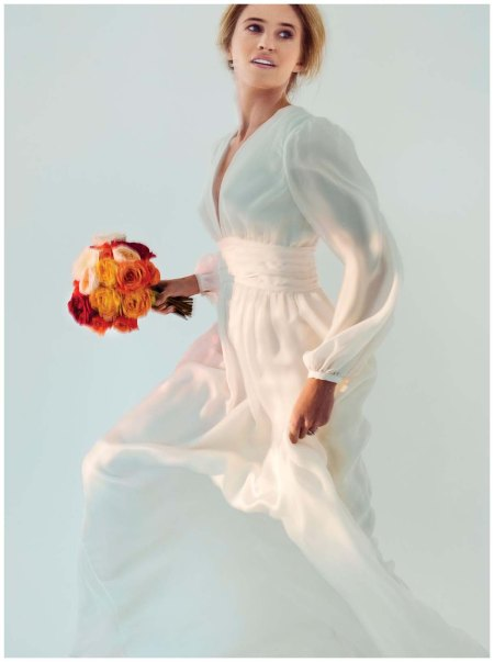 Bell-sleeve, silk-chiffon Frida gown by Stone Fox Bride,Solitaire 1895 platinum ring with diamonds by Cartier, price upon request; multicolored rose bouquet by B Floral