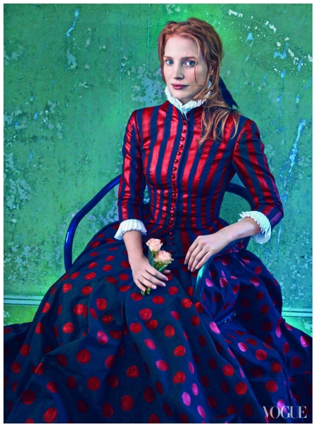 Chastain poses as Vincent van Gogh's La Mousmé, 1888
