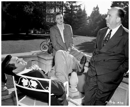Ingrid Bergman, Cary Grant, and Alfred Hitchcock Taking a Break 1946