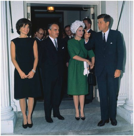 President and Mrs.. Kennedy pose with Prince Rainier and Princess Grace at a reception at the White House 1961 Corbis