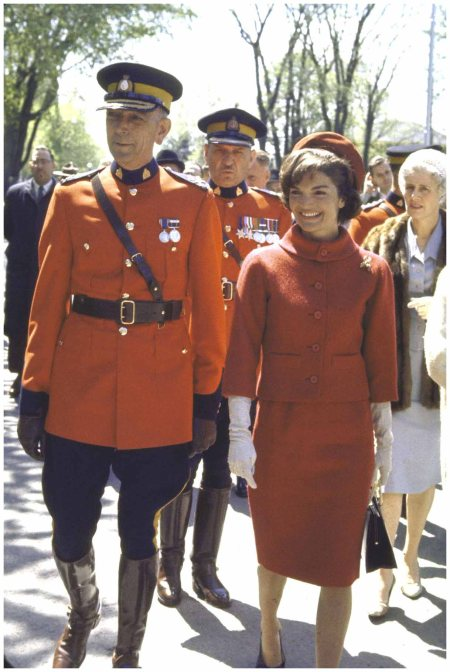 With Royal Canadian Mounted Police Commissioner Clifford Harvison, during a state visit to Canada Leonard Mccombe::Time Life Pictures:Getty Images 1961