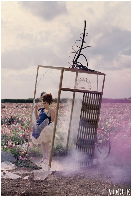 Photo Tim Walker Another shot from the December 2008 shoot - with Helena Bonham Carter emerging from the Great Glass Elevator in an Alexander McQueen dress