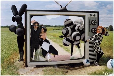 Photo Tim Walker - Helena Bonham Carter, Tim Burton and Karen Elson were photographed for a Roald Dahl-inspired shoot inside the December 2008