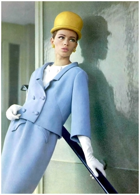 Astrid Heeren in blue gabardine suit worn over white piqué blouse by André Courrèges, photo by Pottier, 1963