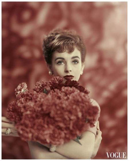 Millie Perkins Vogue - January 1957 Photo  Karen Radkai
