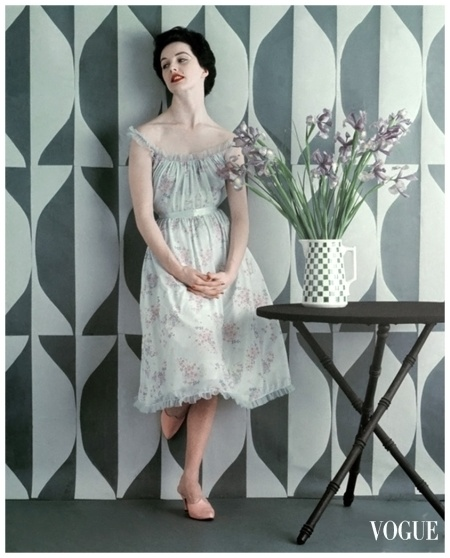 Model wearing lilac-print nightdress by Carter  Richard Rutledge Vogue