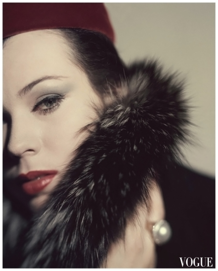 Vogue - September 1959 Head of model Morris with Canadian Fur fox collar and deep red velvet pillbox Photo Karen Radkai