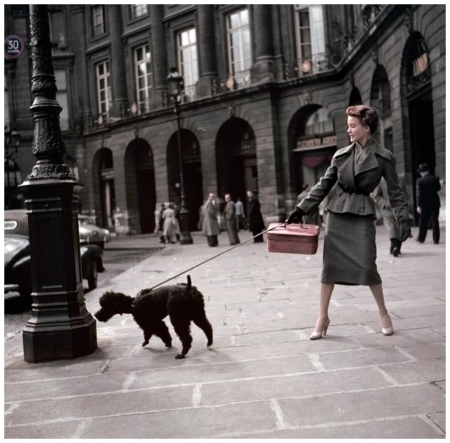 A Dior model, wearing a %22New Look%22 long skirt. 1948