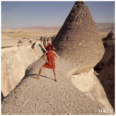 Göreme,-Turkey, is the location of this fashion photograph, which appeared in the December 1, 1966, Vogue