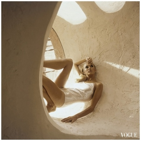 Henry Clarke snaps a model in an unusual, sculptural space in this photograph, which appeared in the January 15, 1966