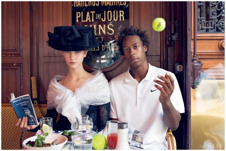 Karlie Kloss and Gaël MonfilsAtBrasserieLipp.Photographed by Arthur Elgort, Vogue, October 2009