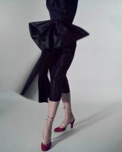 Model Standing, Wearing Velvet Vibrant