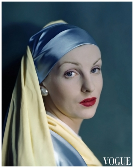 Photographer Erwin Blumenfeld shot this portrait for the August 1, 1945, Vogue, styling his model after Dutch painter Johannes Vermeer's 17th-century masterpiece known as Girl With a Pearl Earring VOGUE - AUGUST 1945