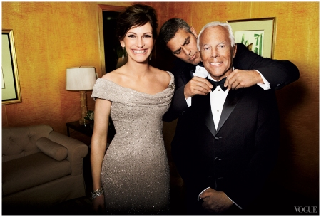 Julia Roberts with George Clooney and Giorgio Armani Mario Testino, Vogue, July 2008