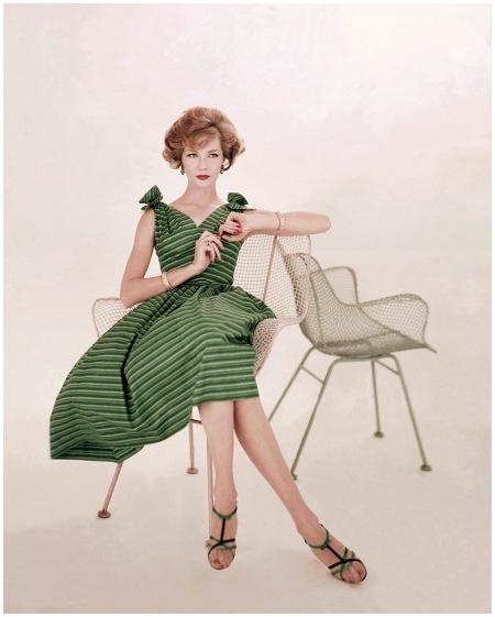 Woman in Green Striped Dress