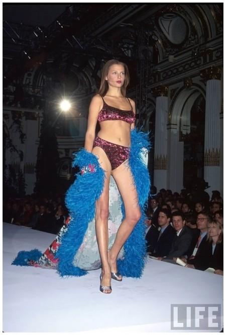 Model Bridget Hall on fashion runway at Victoria's Secret show Dave Allocca 1998