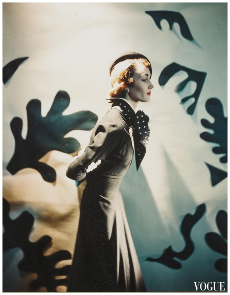Model Evelyn Tripp - Cecil Beaton, Leslie Morris ensemble, Descat hat, Matisse Cutouts, variant published in Vogue, March 15, 1949