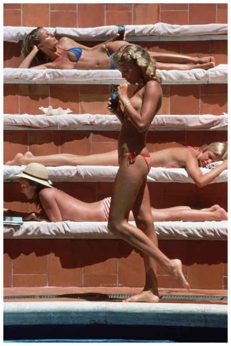 "Slim Aarons. Catherine Wilke, Capri, 1980. ""Elisabeth Catalano, Pamela Grupas, Charlotte Tieken (top to bottom), and Catherine Wilke (standing), Capri, 1982"