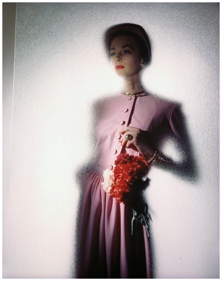 "Dorian Leigh in ""carnation pink"" Constantin Joffe, Vogue, April 1, 1946"