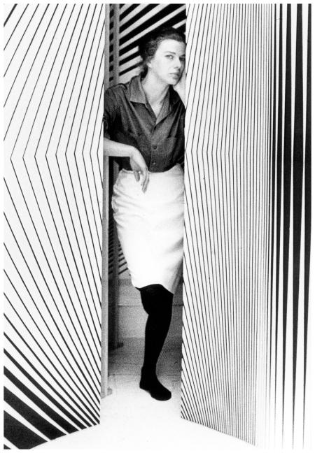 """internationally famous"" artist Bridget Riley ran in Vogue in 1965 Photo Snowdon:Trunk Archive"