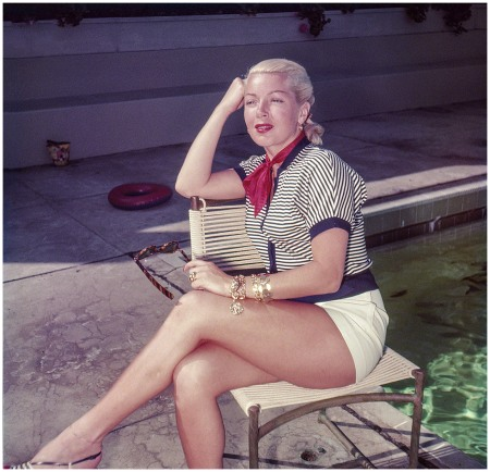 1951. Santa Barbara, California. %22Lana Turner by pool at the Coral Casino.%22 Color transparency by Earl Theisen for Look magazine