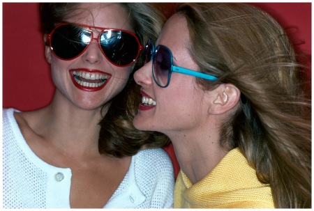 A Models wear sunglasses by Bonneau (left) and Revue Optiks (right) makeup by Mary Quant in 1977 Photo Jacques Malignon