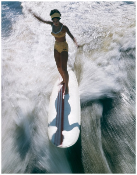 1967 Woman In Bathing Suit Standing Balancing Surfing On A Surfboard Photo H. Armstrong Roberts 1967 Corbis Archive