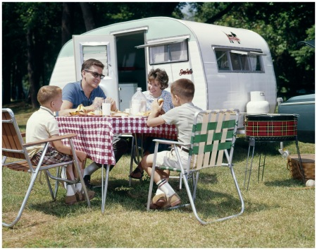 Family Picnicking with camper Photo H.Armstrong Roberts