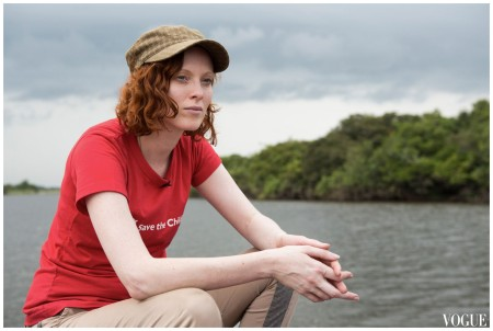 Karen Elson Vogue Feb 2014 %22Travelling by boat on the river – the same journey that thousands of mothers in rural Sierra Leone have to do to be able to give birth safely in a clinic.%22