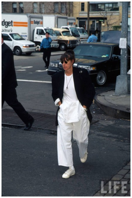 Fashion designer Donna Karan crossing street Marion Curtis 1997