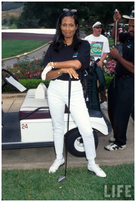 Model Beverly Johnson at celebrity golf tournament Mirek Towski 1997