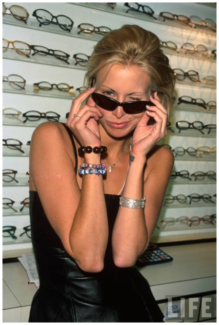 Model Niki Taylor displaying eye wear Marion Curtis 1996
