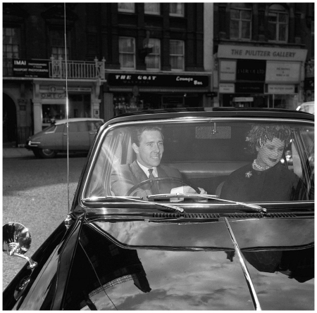 Prncess Margaret with Lord Snowdon driving his car with his mother The Contess of Rosse after the annoucement of the birth of his daughter Sarah