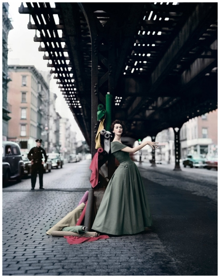 %22Dovima Under the El (Dior Creates Cosmopolitan Drama),%22 1956. For Douglas Simon. Photograph by William Helburn