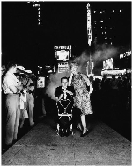 Paul Newman and Joanne Woodward, shot in Times Square for Town and Country magazine in 1955