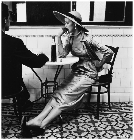 Jean Patchett Vogue Fashion Photograph Café in Lima, Peru 1948 Photo Irving Penn