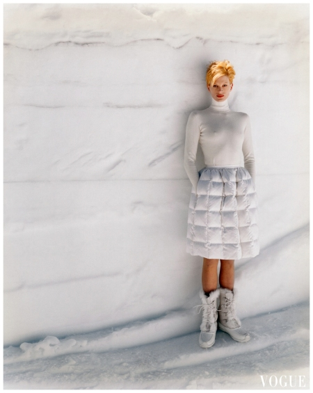 Kristen McMenamy on Mammoth Mountain, California  Arthur Elgort, Vogue, November 1995