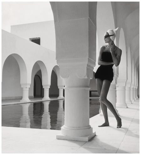 Model Jean Patchett In Bathing Suit By Flexees, Granada, Spain, Published Harper Bazaar Photo Louise Dahl-Wolfe