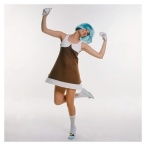 Model Susan Schoenberg wearing a brown and white, color block Courreges dress with white gloves, a blue wig, knee socks and blue shoes 1969 Photo Bert Stern