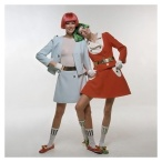Two models in Courreges outfits and brightly colored Dutch boy wigs 1969 Photo Bert Stern