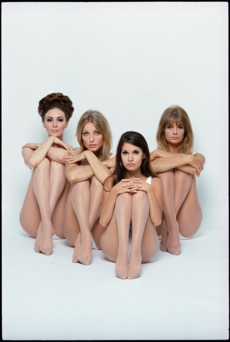 Wilhelmina, Sharon Tate, Josephine Attominoff (the photographer's stylist) and Jean Shrimpton, photo by William Helburn,1967