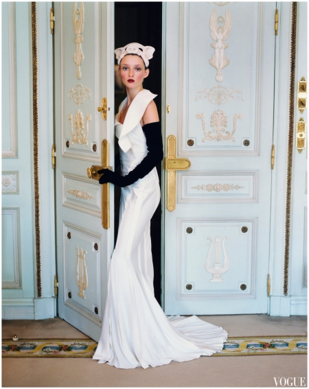 Audrey Marnay in Christian Dior Haute Couture by John Galliano Arthur Elgort, Vogue, March 1999