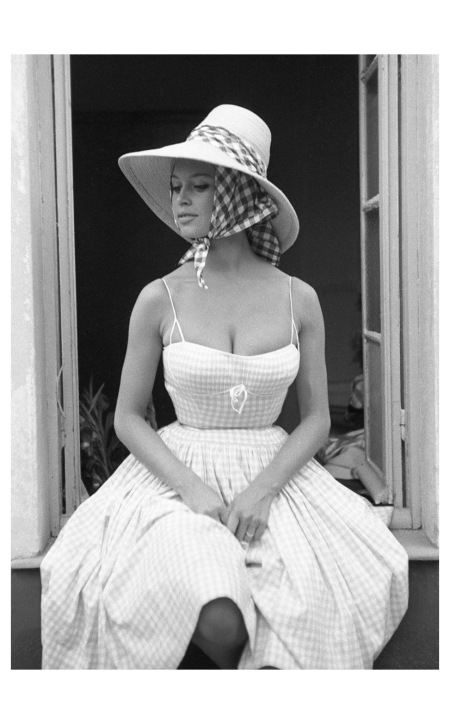 Brigitte Bardot wears a hat of French stylist Jean Barthet,and photographed for French ELLE, Paris 1961 b