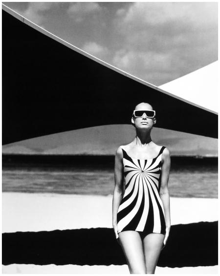 Brigitte Bauer %22Op Art%22 Swimsuit Sinz, Vouliagmeni - Greece 1966 photo F.C. Gundlach %22Variant%22