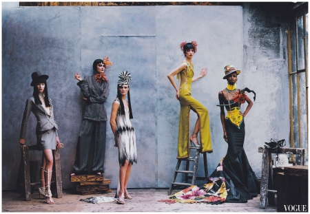 Christina Kruse, Shalom Harlow, Ling Tan and Debra Shaw in Christian Dior Haute Couture by John Galliano Peter Lindbergh, Vogue, April 1997