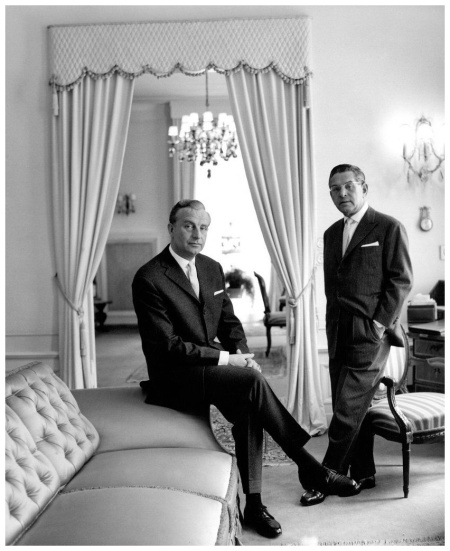 Fashion designers Gerd Bars Staebe and Hans Seger in Your Villa in Dahle 1957 Photo F.C.Gundlach